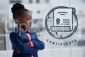 Education icons against office kid girl thinking background