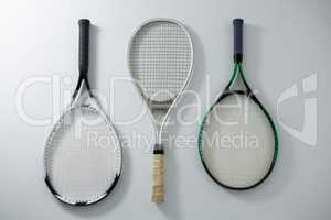 Directly above shot of metallic tennis rackets