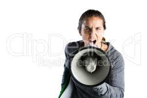 Portrait of young female coach announcing on megaphone