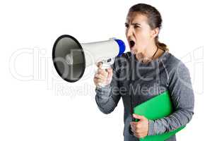 Female rugby coach shouting on megaphone