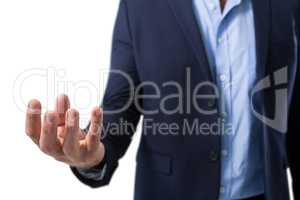 Helpless businessman showing his hands
