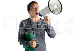 Female rugby coach announcing on megaphone