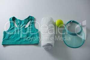Sports bar with napkin and tennis ball by sun visor
