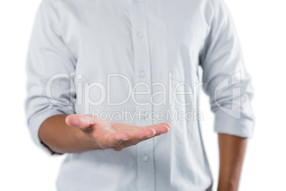 Man pretending to be holding invisible object