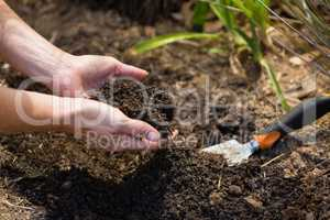 Woman pouring soil in garden