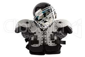 Close up of sports helmet on chest protector
