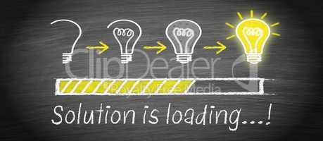 Solution is loading - big idea light bulb concept