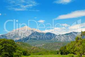 top of mountain Olympos (Turkey) and blue sky