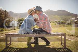 Senior couple kissing each other while sitting on a bench in lawn