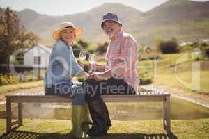 Senior couple enjoying white wine while sitting on a bench in lawn