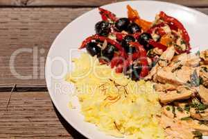 Spicy Chicken Diablo with cilantro, olives, peppers, garlic and