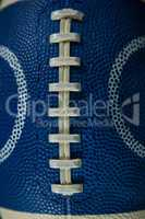 Close-up of texture and stitch on American football