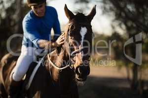 Jockey riding horse at barn