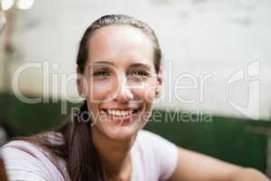 Close up portrait of female jockey