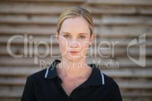 Portrait of serious female jockey