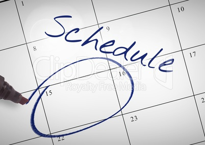 Schedule Text written on calendar with marker