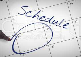 Schedule Text written on calendar with marker