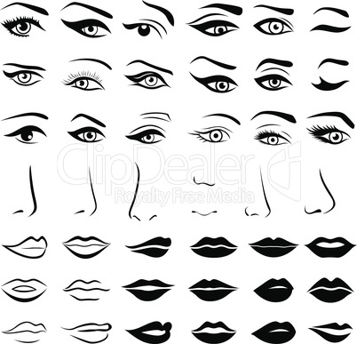 Set of human eyes, noses and lips