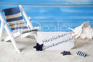 Summer Label With Deck Chair, Glueckwunsch Means Best Wishes