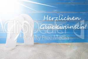 Sunny Summer Background, Herzlichen Glueckwunsch Means Congratulations