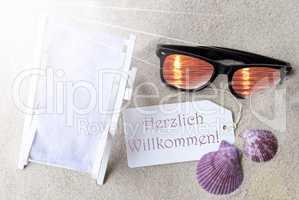 Sunny Flat Lay Summer Label Herzlich Willkommen Means Welcome