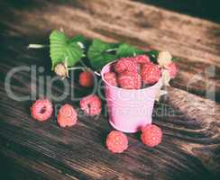 Ripe red raspberries in an iron bucket
