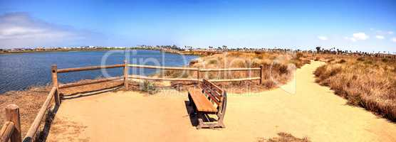 Bench overlooking the peaceful and tranquil marsh of Bolsa Chica