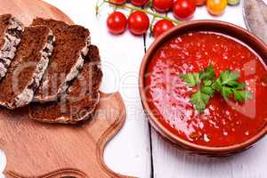 Soup of fresh red tomato gazpacho