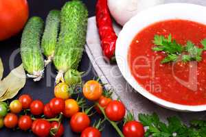 Cold summer soup gazpacho