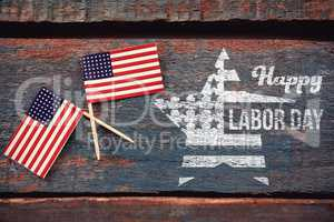 Composite image of composite image of happy labor day text and star shape american flag