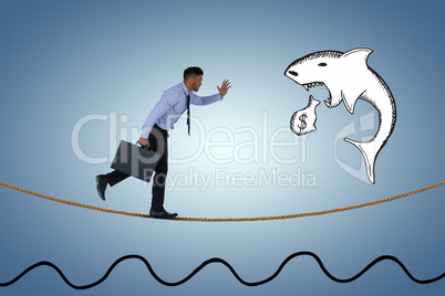 Composite image of side view of businessman running with briefcase