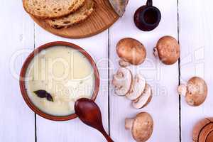 Cream mushroom soup with champignons