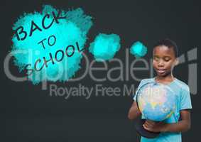 Back to school text and boy holding world globe