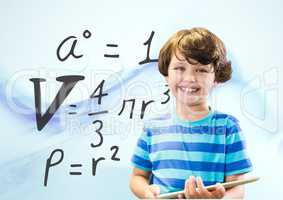 Boy with tablet and formula