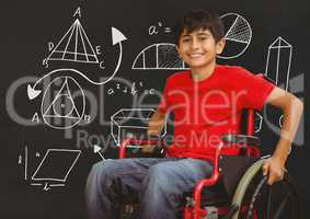 Disabled boy in wheelchair in front of blackboard with diagram drawings