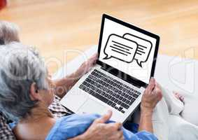 Chat graphic on laptop screen with Old people