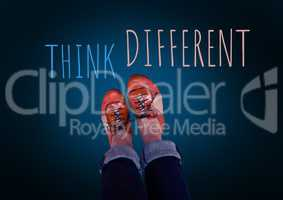 Think Different text and red shoes on feet with blue background
