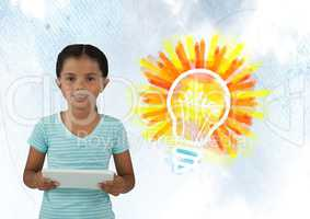 Girl on tablet with colorful light bulb idea