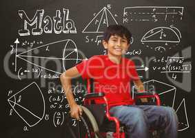 Disabled boy in wheelchair in front of blackboard with math equations