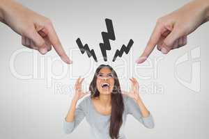 Hands pointing at angry woman against white background with lightning icons