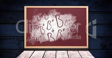 B+ grade letters on blackboard
