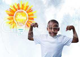 Strong Boy flexing muscles with colorful light bulb idea