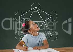 Student girl at table looking up against green blackboard with school and education graphic
