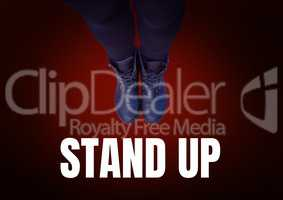 Stand up text and Blue shoes on feet with red background