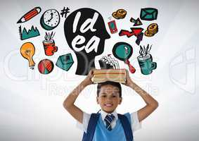 Schoolboy holding books on head with colorful idea graphics