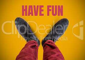Have fun text and Grey shoes on feet with yellow background