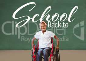 Back to school text on blackboard with disabled girl in wheelchair