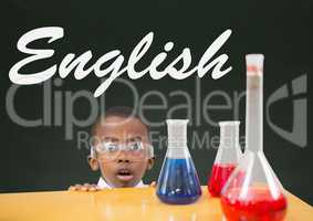 Surprised student boy at table against green blackboard with English text