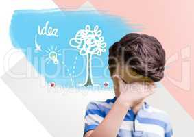 Boy thinking hard with colorful idea graphics