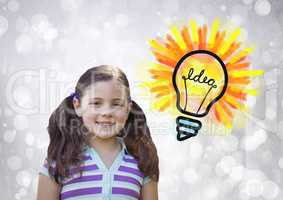 Girl with colorful idea light bulb and sparkling lights bokeh background